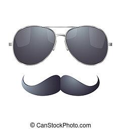 lunettes soleil, moustache