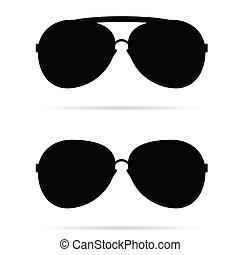 lunettes soleil, noir, vecteur