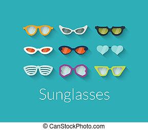 lunettes soleil, plat, vecteur, ensemble