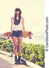 lunettes soleil port, patin, hipster, planche, girl