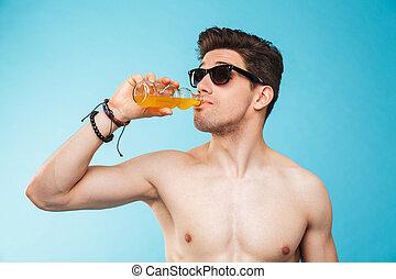 lunettes soleil, sans chemise, haut, jeune, portrait, fin, homme