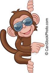 lunettes soleil, singe, pointage, signe, animal, dessin animé