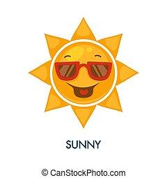 lunettes soleil, soleil, ensoleillé, temps, icône, frais