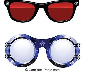 lunettes soleil, vecteur, illustration