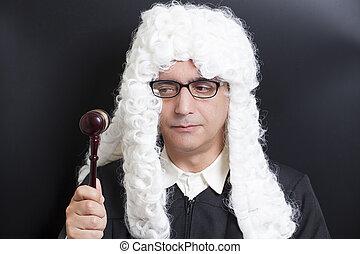 lunettes, tenue, juge, avocat, marteau, portrait, mâle