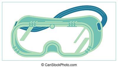 lunettes, ui., sécurité, illustration, toile, app, isolé, icône, goggles., vecteur, plat, logo, blanc