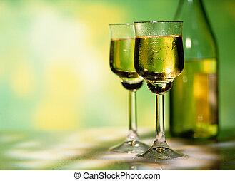 lunettes vin, deux, blanc