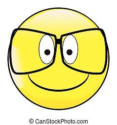 lunettes, visage heureux, emoticon, sourire, bouton, grands yeux