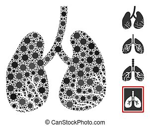 Lung Cancer Collage of Corona Virus Items