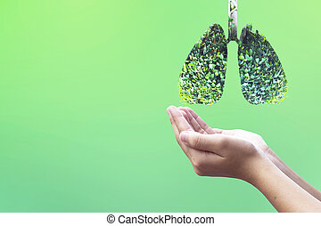 Lung cancer concept: protecting the environment