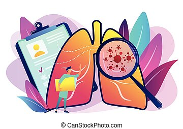 Huge magnifier showing cancer in the lungs and doctor with document folder. Lung cancer, trachea and bronchus concept on white background. Bright vibrant violet vector isolated illustration