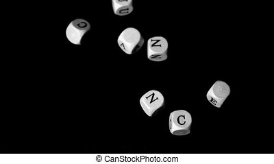 Lung cancer dice falling together in slow motion
