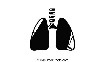 Lung icon animation. Motion set of best icons and then each objects is shown separately