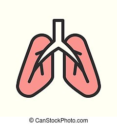 lung icon, organ related set vector illustration