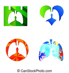 Lung icons Vector, Lung icon set