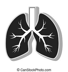 lung organ health , isolated flat icon with black and white...