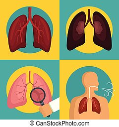 Lung organ human breathing icons set flat style