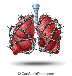 Lung pain medical concept as a pair of human lungs organ wrapped with dangerous barbed or barb wire as a health care symbol of cardiovascular problems as cystic fibrosis or chest pain metaphor.