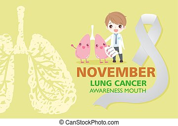 lung with health concept on the yellow background