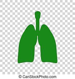 lungan, skylt., mörk, bakgrund., grön, mänsklig, organs, transparent, ikon