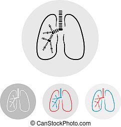 lungan, symbol, -, illustration, vektor, mänsklig