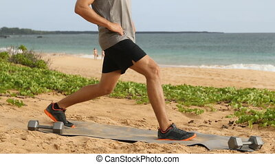 Lunge exercise - man doing lunges exercising legs. Male ...