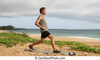 Lunges exercise - fitness man doing lunge workout exercising...