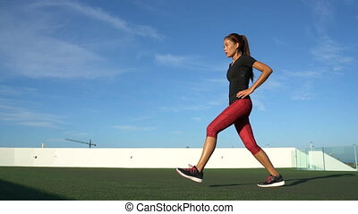 Lunges fitness woman doing front lunge leg bodyweight ...