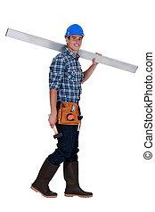 lunghezza, lavoratore costruzione, pieno