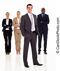 lunghezza, pieno, gruppo, persone affari