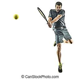 lunghezza, pieno, maturo, rovescio, tennis, uomo, giocatore, fondo, silhouette, isolato, bianco