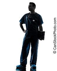 lunghezza, pieno, silhouette, dottore, uomo