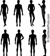 lunghezza, pieno, silhouette, fronte, indietro