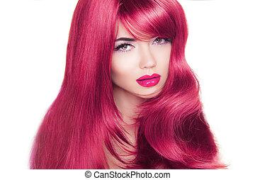 lungo, hair., fascino, moda, ritratto donna, con, lungo, ondulato, coloritura, acconciatura, isolato, bianco, fondo.