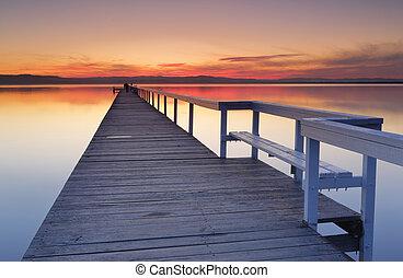 lungo, molo, tramonto