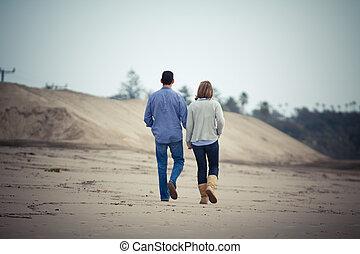 lungo, spiaggia, camminare, amore, coppia