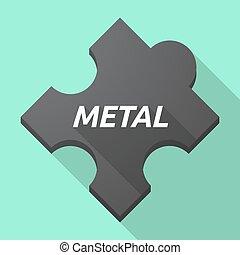 lungo, uggia, pezzo enigma, con, il, testo, metallo