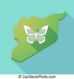 lungo, uggia, siria, mappa, con, uno, farfalla