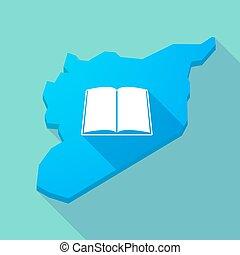 lungo, uggia, siria, mappa, con, uno, libro