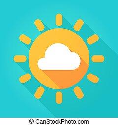 lungo, uggia, sole luminoso, icona, con, uno, nuvola