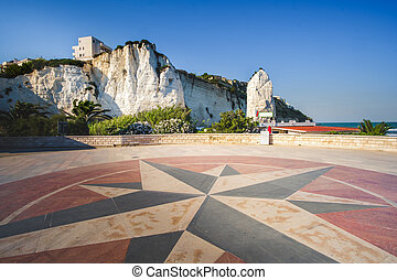 lungomare (seafront) of Vieste with a windrose symbol ...