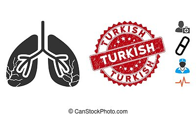 Lungs Cancer Icon with Scratched Turkish Seal