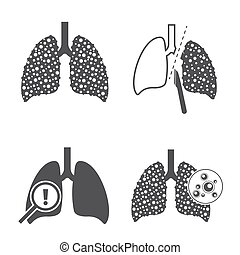 Lungs cancer icons set