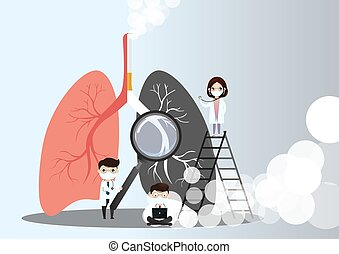 Miniature doctors study and treat large human lungs. Vector concept of medical pulmonological care one sided normal lung and the other side with the smokers lung in dark color. vector, illustration.