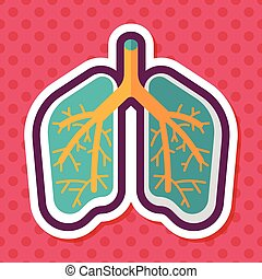 Lungs flat icon with long shadow