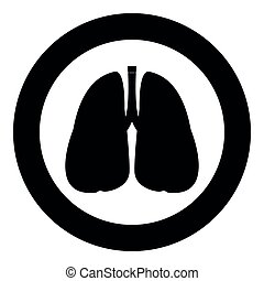 Lungs  icon black color in circle