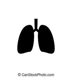 Lungs icon. Human internal organ. Simple black vector ...