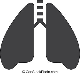 Lungs icon in black on a white background. Vector illustration