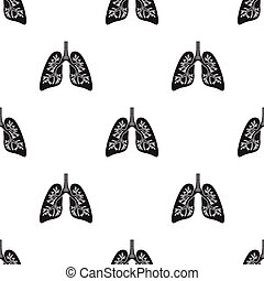 Lungs icon in black style isolated on white background. Organs pattern stock vector illustration.