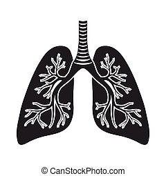 Lungs icon in black style isolated on white background. Organs symbol stock vector illustration.